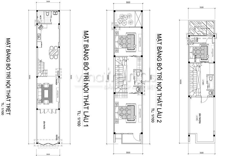 mat bang nha ong mat tien 35m Tối ưu mẫu nhà ống rộng 3 5m mặt tiền 3 phòng ngủ ở Biên Hòa đã xây xong