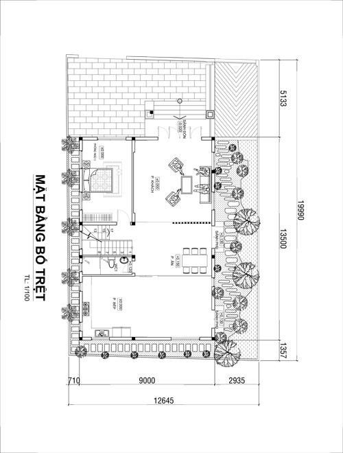 mat bang tang tret biet thu 3 tang tan co dien dep o vinh phuc Mẫu biệt thự 3 tầng đẹp 05 phòng ngủ – hầm ô tô theo nếp sống người miền Bắc (Vĩnh Phúc)