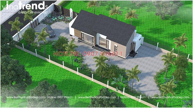 mau nha 1 tang hien dai mai thai dep nhat 3 Mẫu nhà 1 tầng 126m2 chi tiết thiết kế dể tích góp xây nhà ở Biên Hòa
