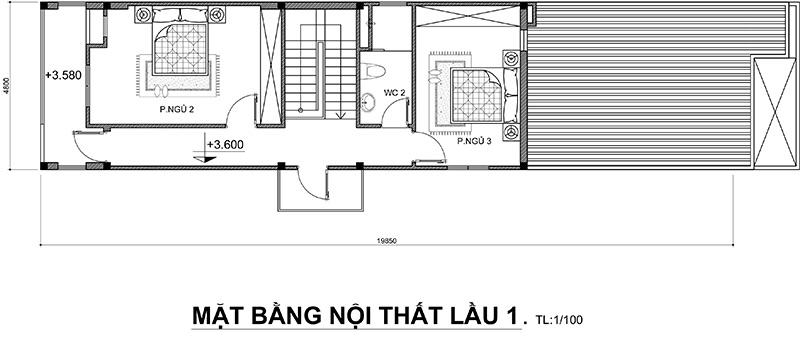 mau nha 2 tang bo tri cong nang sinh hoat 1 Mẫu nhà 2 tầng 96m2 ở Hố Nai Biên Hòa xây hoàn thiện tràn ngập gió trời khỏi cần điều hòa