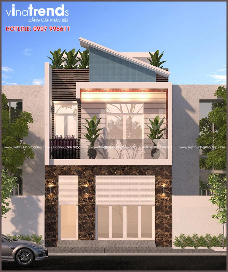 mau nha 2 tang hien dai mat tien 7m co gara o to VinaTrends   Công ty xây dựng tại Đồng Nai hơn 499 công trình thiết kế xây nhà trọn gói trên toàn Việt Nam