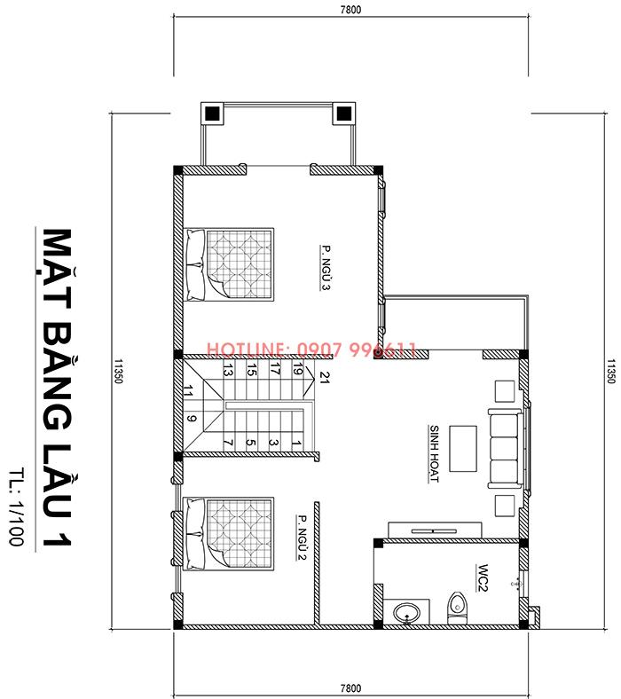 mau nha 2 tang mai thai chu l dep o bien hoa 1 Mẫu nhà 2 tầng mái thái đơn giản 7,8x11m đẹp như  biệt thự ở Biên Hòa