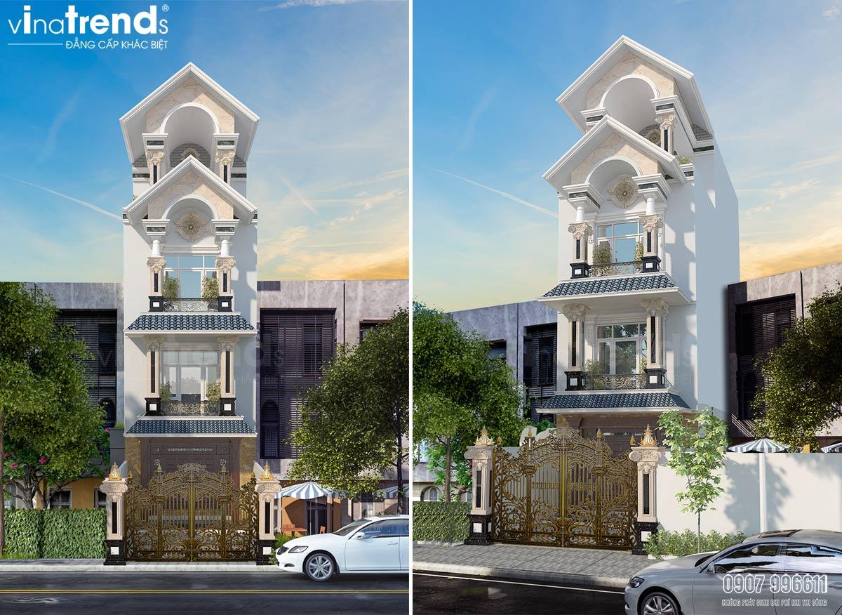 mau nha ong 4 tang mai thai mat tien 5m Mẫu nhà ống 4 tầng tân cổ điển 5x15m bố trí thông minh của đa số khách Sài Gòn chọn