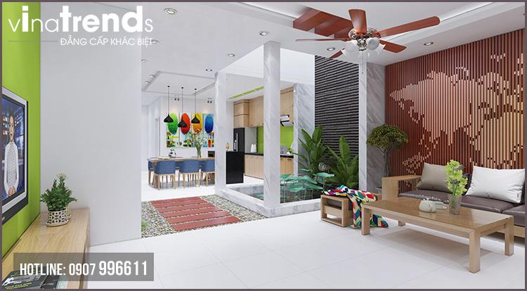 phong khach hien dai nha 2 tang Mẫu nhà 2 tầng đơn giản 6x18m 4 phòng ngủ có gara ô tô ở Biên Hòa dể tích góp xây nhà