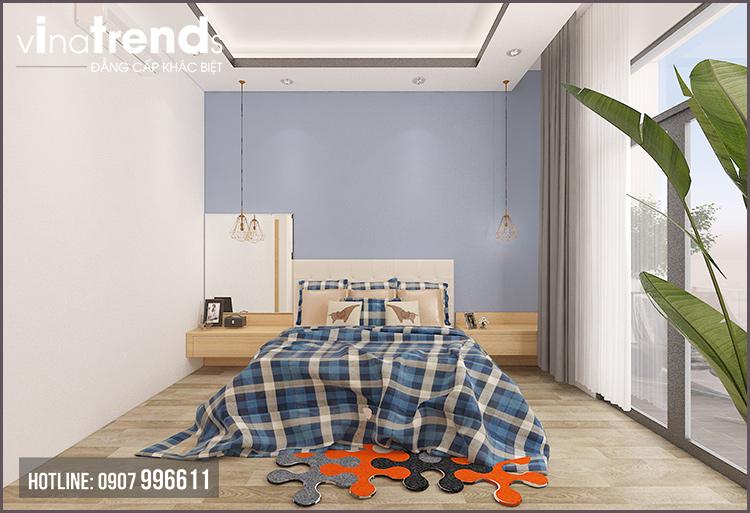 phong ngu don gian nha 2 tang Mẫu nhà 2 tầng đơn giản 6x18m 4 phòng ngủ có gara ô tô ở Biên Hòa dể tích góp xây nhà