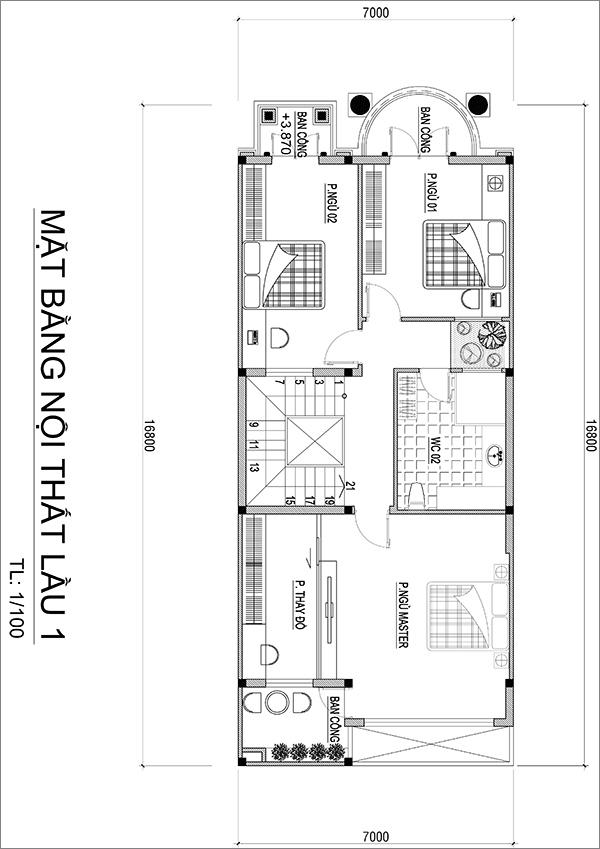 MẶT BẰNG LẦU 1 ANH QUANG 5 view mẫu biệt thự 3 tầng tân cổ điển mặt tiền chỉ với 7mx17m vẫn đồ sộ ở Bình Dương