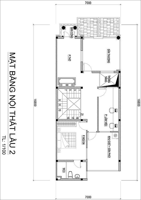 MẶT BẰNG LẦU 2 ANH QUANG Mẫu nhà biệt thự 3 tầng mái thái tân cổ điển mặt tiền đẹp 7mx17m cho nhà thầu xây dựng ở Bình Dương