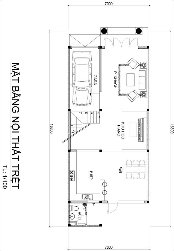 MẶT BẰNG TRỆT ANH QUANG Mẫu nhà biệt thự 3 tầng mái thái tân cổ điển mặt tiền đẹp 7mx17m cho nhà thầu xây dựng ở Bình Dương