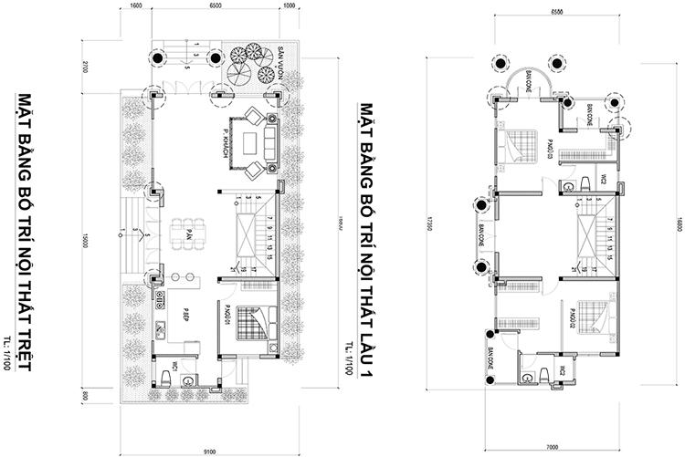 mat bang mau biet thu mat tien 65m Mẫu nhà biệt thự 3 tầng mái thái 6,5x15m có sân vườn rộng khá đồ sộ của anh Nghĩa   Nhà Bè