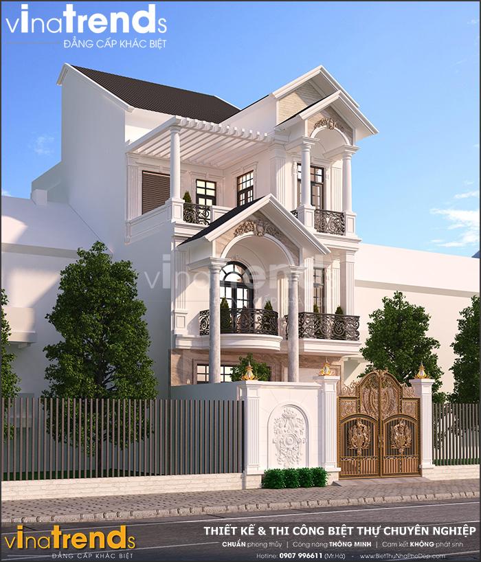 mau biet thu mai thai 3 tang mat tien 7m 1 Đơn giá thiết kế nhà phố   biệt thự trọn gói của VinaTrends từ 08/2020