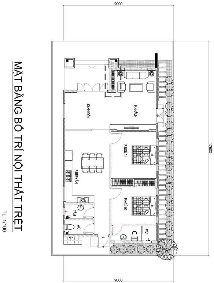 mau nha 1 tang mai thai kieu nong thon mat tien 9m o bien hoa 2 Mẫu nhà 1 tầng mái thái 9x17,5m mang cuộc sống XANH cho gia đình trung lưu ở Biên Hòa