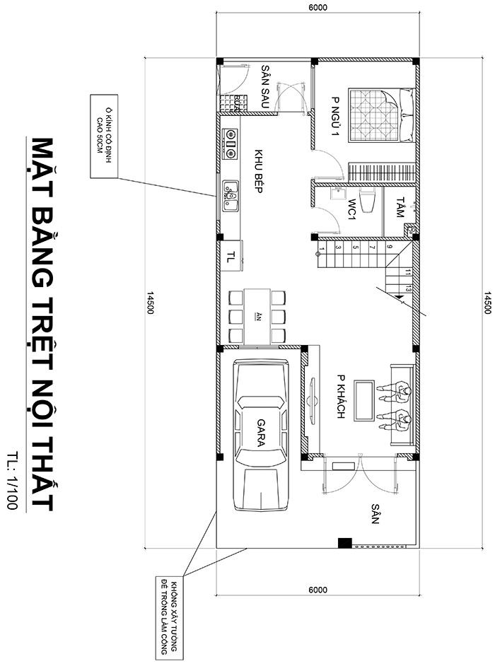 mat bang nha 2 tang duoi 100m2 1 Mẫu nhà 2 tầng 6x12m khiêm tốn về diện tích   Thông Minh về thiết kế của vợ chồng 9X