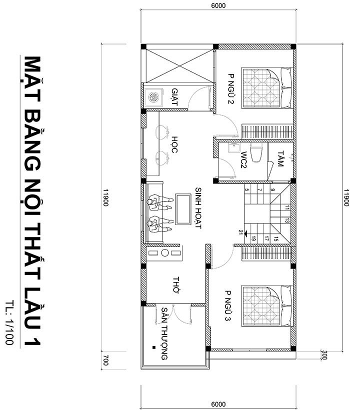 mat bang nha 2 tang duoi 100m2 2 Mẫu nhà 2 tầng 6x12m khiêm tốn về diện tích   Thông Minh về thiết kế của vợ chồng 9X