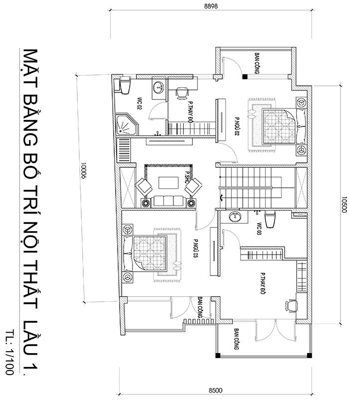 mau biet thu hien dai 3 tang duoi 100m2 vinatrends thiet ke 6 Mẫu biệt thự đẹp 3 tầng 8,8x10m sinh thái mini của chủ nhà 9X dành tặng ba mẹ