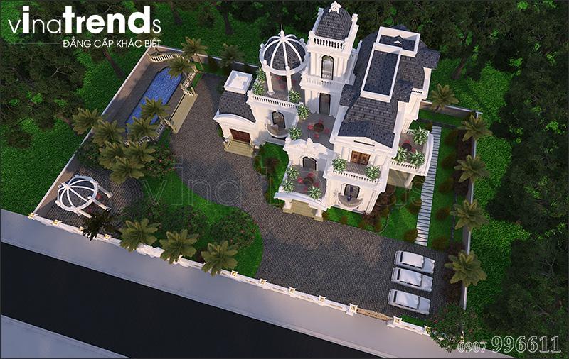 biet thu co dien chau au 3 tang 1500m2 o binh phuoc vinatrends thiet ke 5 Biệt thự lâu đài 3 tầng cổ điển có sân vườn rộng 1500m2 của đại gia miền Trung ở Bình Phước