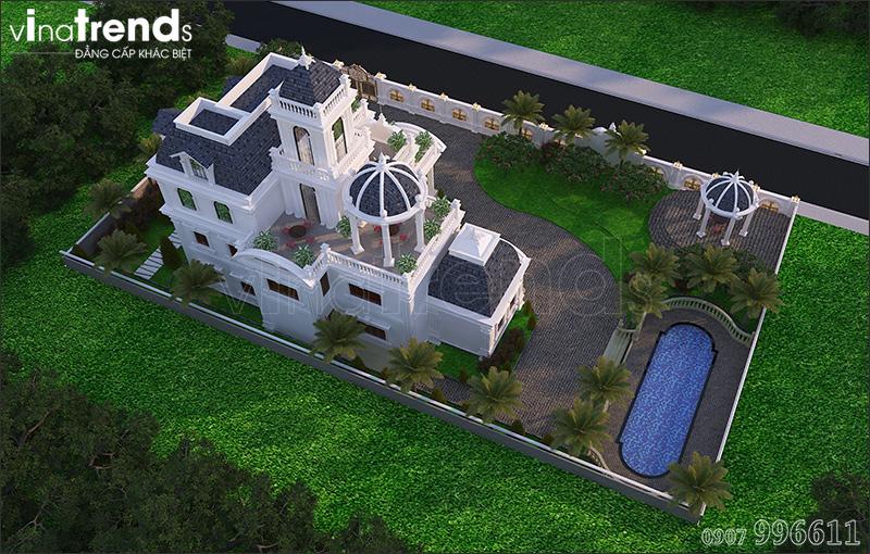 biet thu co dien chau au 3 tang 1500m2 o binh phuoc vinatrends thiet ke 6 Biệt thự lâu đài 3 tầng cổ điển có sân vườn rộng 1500m2 của đại gia miền Trung ở Bình Phước