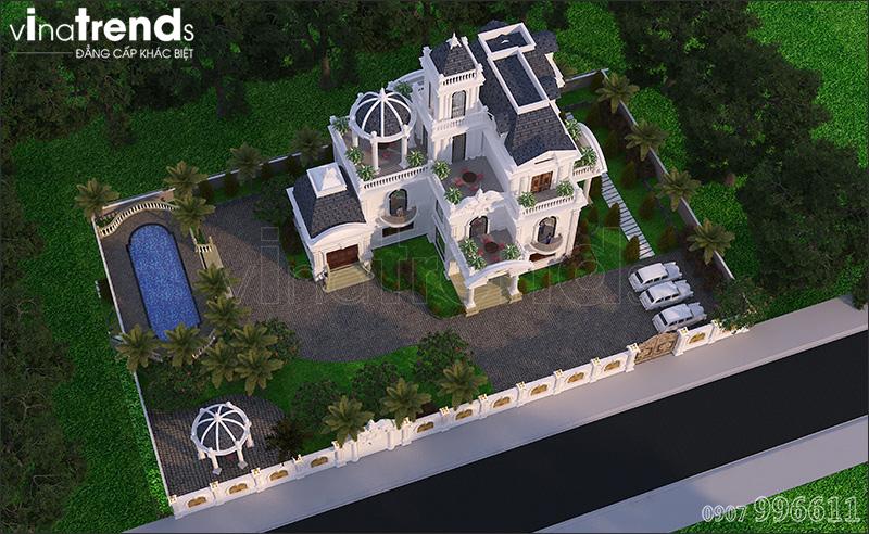 biet thu co dien chau au 3 tang 1500m2 o binh phuoc vinatrends thiet ke 9 Biệt thự lâu đài 3 tầng cổ điển có sân vườn rộng 1500m2 của đại gia miền Trung ở Bình Phước