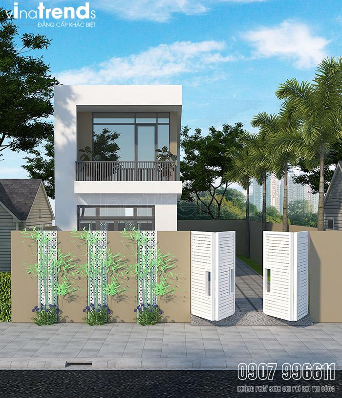 mau nha 2 tang dep hien dai mat tien 5m 1 Mẫu nhà 2 tầng 5x23m tầm 900 triệu trang trí gạch bông gió của hàng xóm VinaTrends