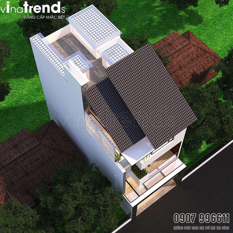 mau nha 3 tang hien dai co gieng troi 2 Mẫu nhà 3 tầng đẹp hiện đại 6,7x12m có 3 giếng trời cho chủ nhà ưu tiên ánh sáng ở Biên Hòa