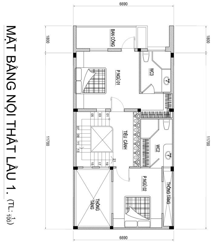 mau nha 3 tang hien dai co gieng troi 5 Mẫu nhà 3 tầng đẹp hiện đại 6,7x12m có 3 giếng trời cho chủ nhà ưu tiên ánh sáng ở Biên Hòa