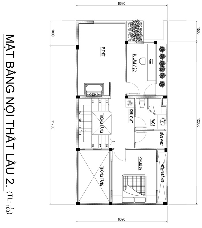 mau nha 3 tang hien dai co gieng troi 6 Mẫu nhà 3 tầng đẹp hiện đại 6,7x12m có 3 giếng trời cho chủ nhà ưu tiên ánh sáng ở Biên Hòa