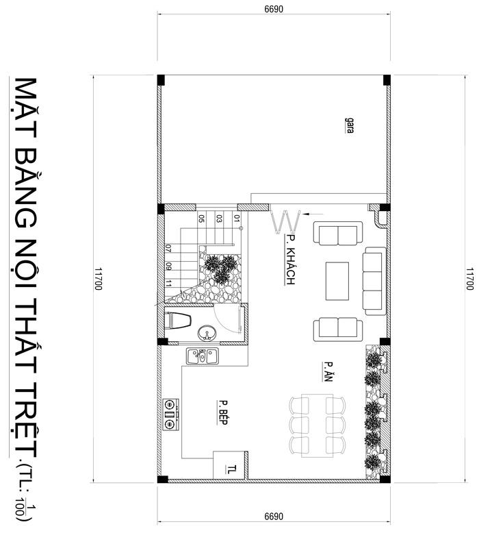 mau nha 3 tang hien dai co gieng troi 7 Mẫu nhà 3 tầng đẹp hiện đại 6,7x12m có 3 giếng trời cho chủ nhà ưu tiên ánh sáng ở Biên Hòa