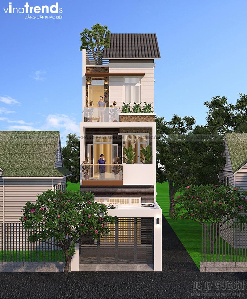 mau nha 3 tang hien dai mat tien duoi 5m cong ty xay dung bien hoa vinatrends thuc hien 1 VinaTrends   Công ty xây dựng tại Đồng Nai hơn 499 công trình thiết kế xây nhà trọn gói trên toàn Việt Nam