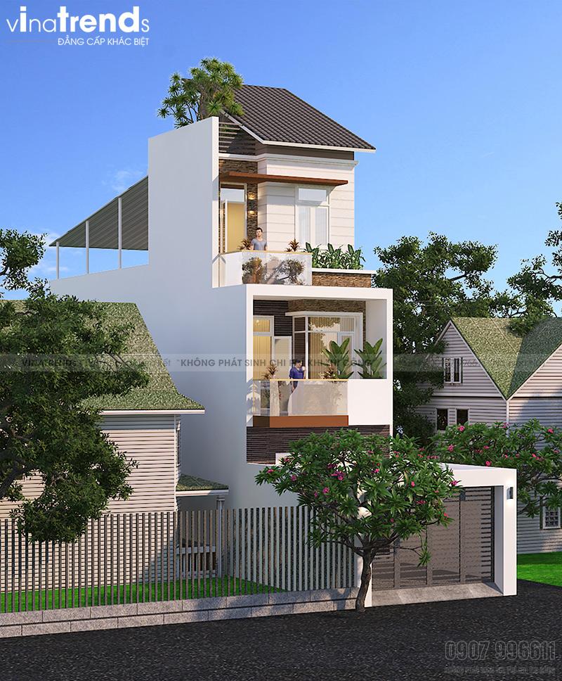 mau nha 3 tang hien dai mat tien duoi 5m cong ty xay dung bien hoa vinatrends thuc hien 5 VinaTrends   Công ty xây dựng tại Đồng Nai hơn 499 công trình thiết kế xây nhà trọn gói trên toàn Việt Nam