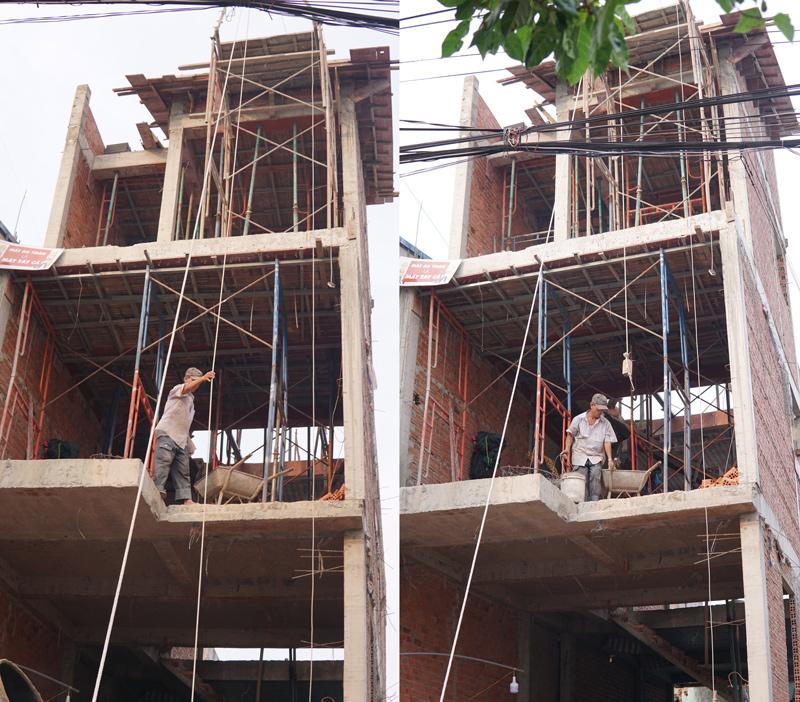 thi cong nha 3 tang hien dai o bien hoa Mẫu nhà 3 tầng hiện đại 4,7m dài 15m để thỏa mái ô tô đang thi công ở Amata Biên Hòa