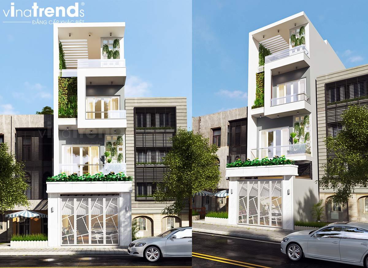 mau nha 4 tang hien dai dep mat tien 5m Mẫu nhà 4 tầng hiện đại đẹp mặt tiền 5m dài 20m mát rượi ngay trung tâm Sài Gòn