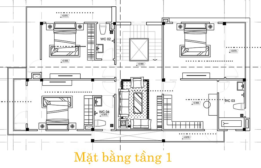 l1 Mẫu nhà biệt thự 3 tầng hiện đại 8,5m dài 16,5m có sân vườn rộng chứa bao ân tình dành cho gia đình ở Long Thành