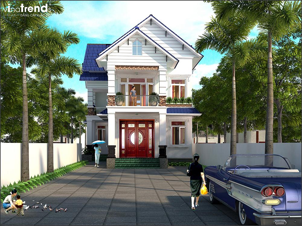 mau biet thu 2 tang mai thai ngoi mau xanh dep nhat mien tay 1 Mẫu nhà vườn biệt thự 2 tầng đơn giản 10x20,8m có 4 phòng ngủ ở Phan Thiết