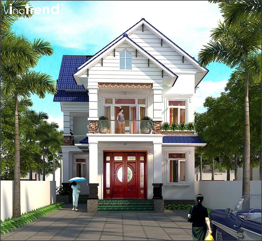 mau biet thu 2 tang mai thai ngoi mau xanh dep nhat mien tay 2 Mẫu nhà vườn biệt thự 2 tầng đơn giản 10x20,8m có 4 phòng ngủ ở Phan Thiết