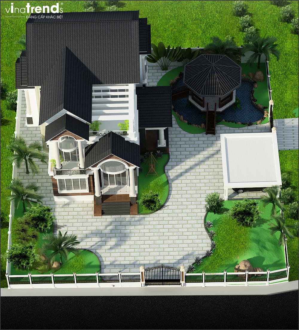 mau biet thu 3 tang mai thai san vuon rong o long thanh bien hoa 2 15 Mẫu nhà biệt thự mái thái 2 3 4 tầng   Chiến binh đáng xây năm 2020   2021