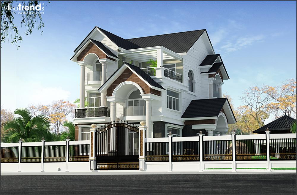mau biet thu 3 tang mai thai san vuon rong o long thanh bien hoa 4 15 Mẫu nhà biệt thự mái thái 2 3 4 tầng   Chiến binh đáng xây năm 2020   2021