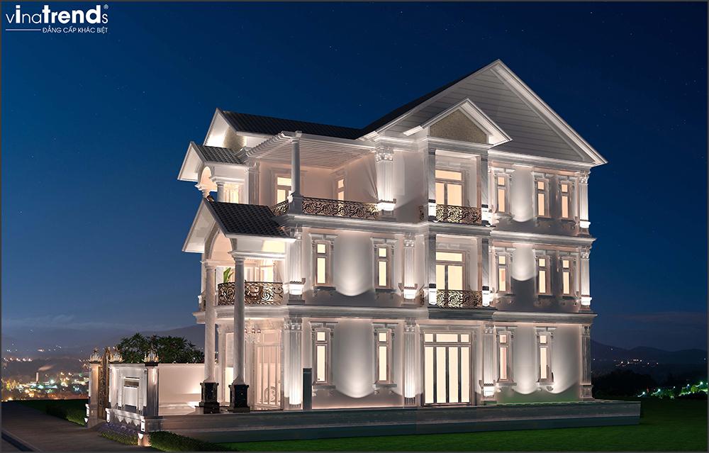 mau biet thu dep 3 tang 2 Mẫu nhà biệt thự cổ điển mái thái 3 tầng 7mx17,6m mọi không gian hút gió & ánh sáng tính toán tài tình