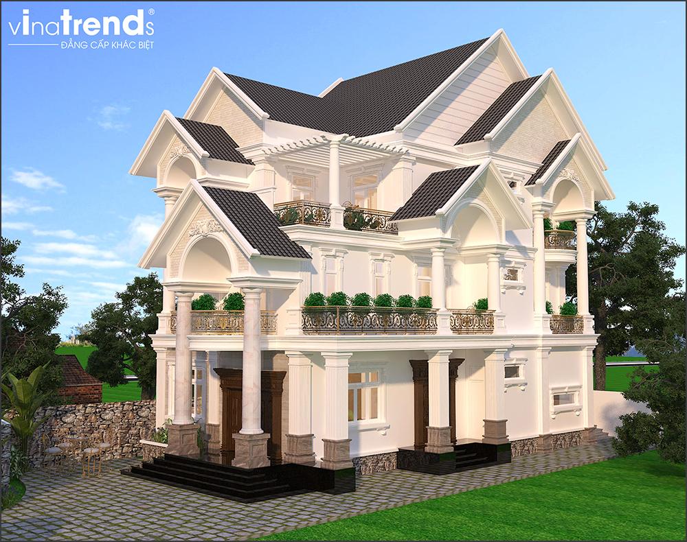 mau biet thu mai thai 3 tang co san vuon dep 3 15 Mẫu nhà biệt thự mái thái 2 3 4 tầng   Chiến binh đáng xây năm 2020   2021