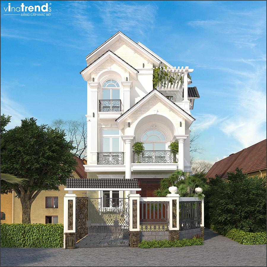mau nha biet thu 3 tang mai thai 2 15 Mẫu nhà biệt thự mái thái 2 3 4 tầng   Chiến binh đáng xây năm 2020   2021