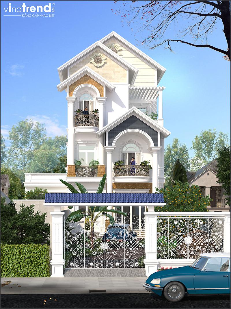mau nha biet thu 3 tang mai thai 5 15 Mẫu nhà biệt thự mái thái 2 3 4 tầng   Chiến binh đáng xây năm 2020   2021