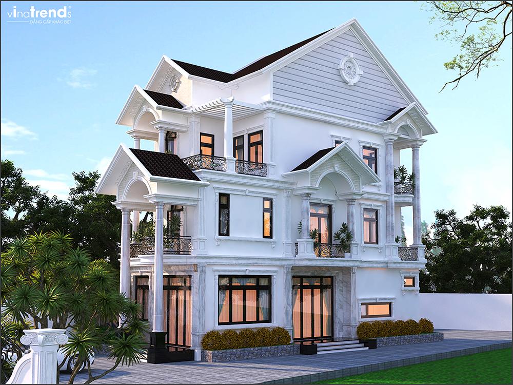 mau nha biet thu dep mai thai 3 tang vinatrends thiet ke 1 Đơn giá thiết kế nhà phố   biệt thự trọn gói của VinaTrends từ 08/2020