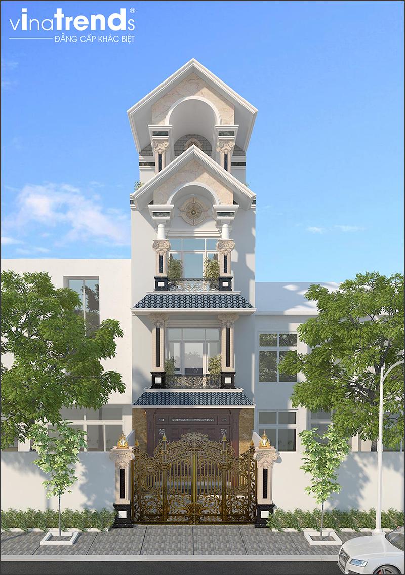 mau nha pho mai thai 4 tang dep 1 15 Mẫu nhà biệt thự mái thái 2 3 4 tầng   Chiến binh đáng xây năm 2020   2021