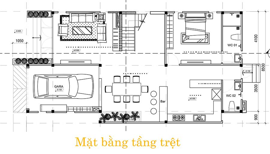 tret Mẫu nhà biệt thự 3 tầng hiện đại 8,5m dài 16,5m có sân vườn rộng chứa bao ân tình dành cho gia đình ở Long Thành