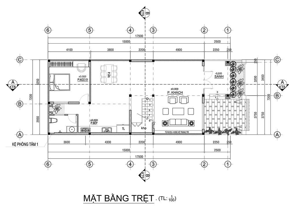 mat bang nha 2 tang mai thai tang 1 Mẫu nhà biệt thự 2 tầng mái thái 7,2m dài 17,5m liều thuốc sống chậm lại dùng cơm nhà nhiều hơn