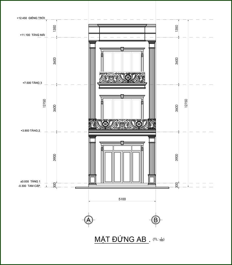 mau nha 3 tang tan co dien Mẫu nhà 3 tầng mặt tiền 5,1x17m tân cổ điển của ông trùm quán cà phê ở Đồng Nai