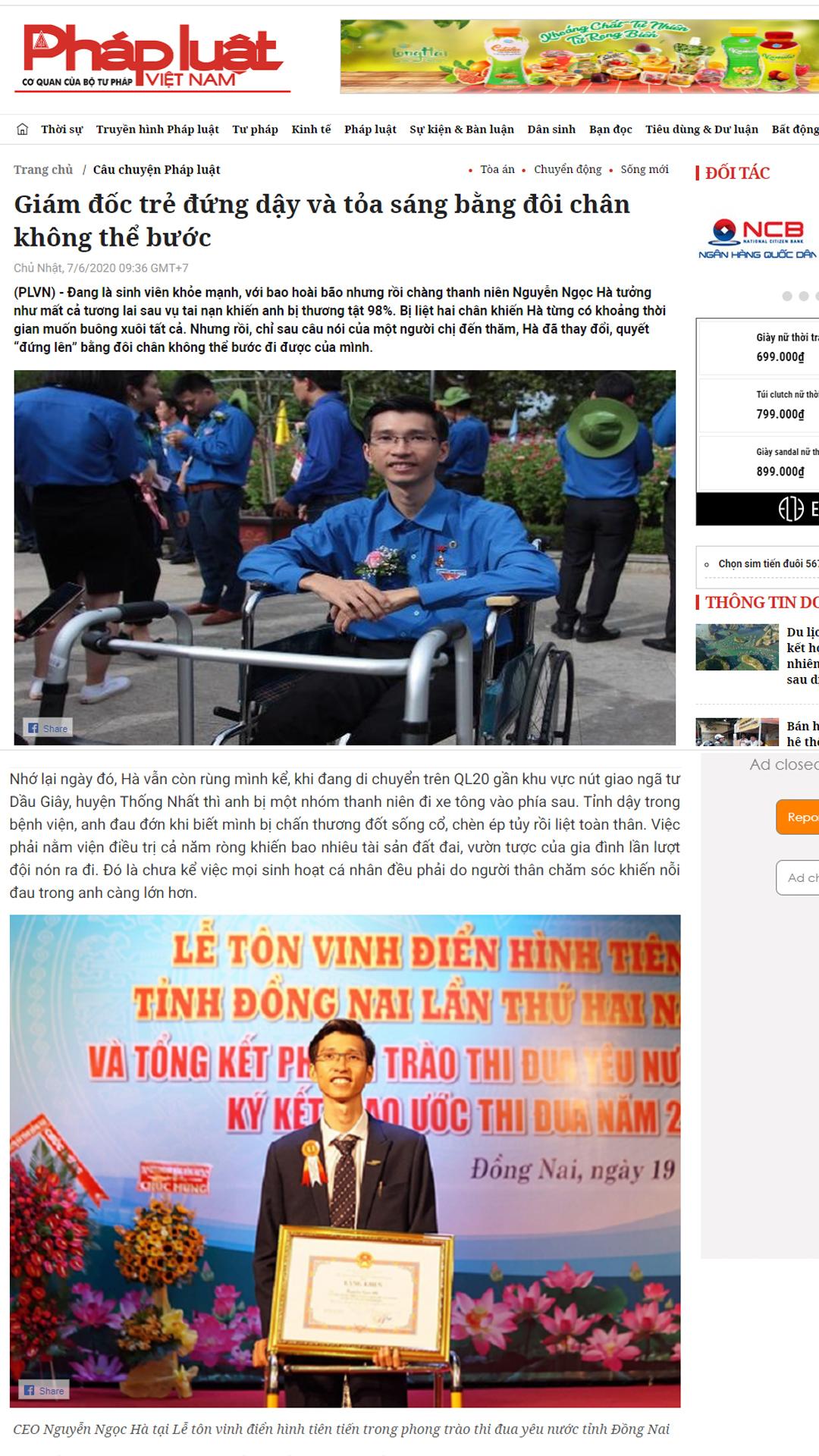 Untitled 1 Báo Pháp Luật VN: Giám đốc trẻ đứng dậy và tỏa sáng bằng đôi chân không thể bước
