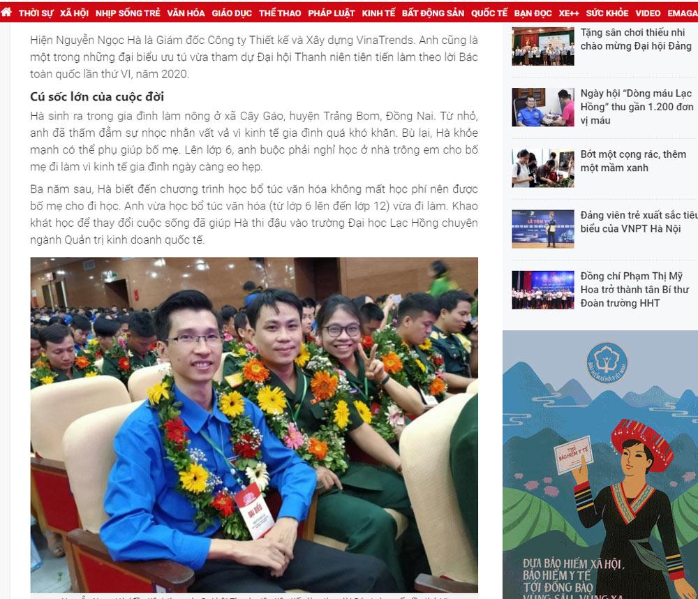 ceo cong ty xay dung vinatrends 1 Hành trình trở thành ông chủ của chàng trai khuyết tật nguồn Tuổi trẻ Thủ Đô