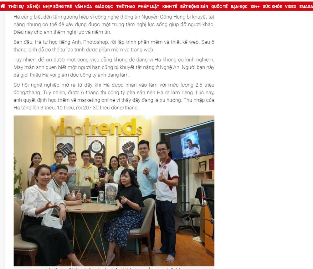 ceo cong ty xay dung vinatrends 3 Hành trình trở thành ông chủ của chàng trai khuyết tật nguồn Tuổi trẻ Thủ Đô