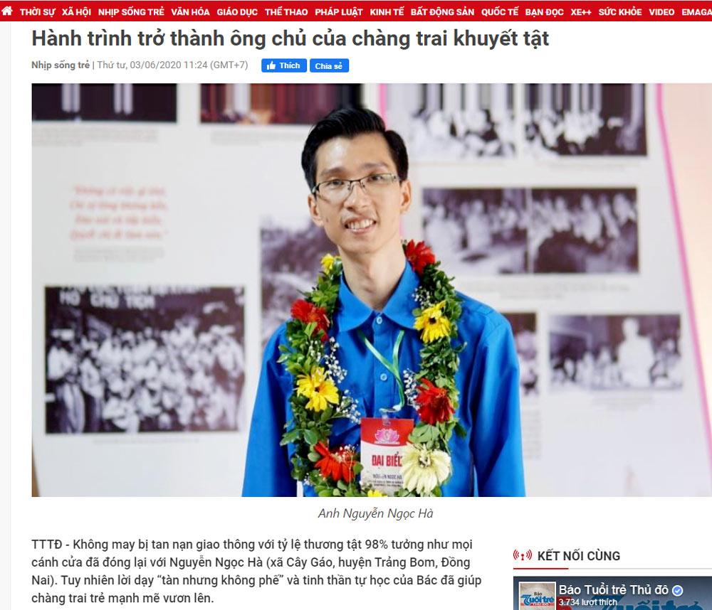 ceo cong ty xay dung vinatrends Hành trình trở thành ông chủ của chàng trai khuyết tật nguồn Tuổi trẻ Thủ Đô