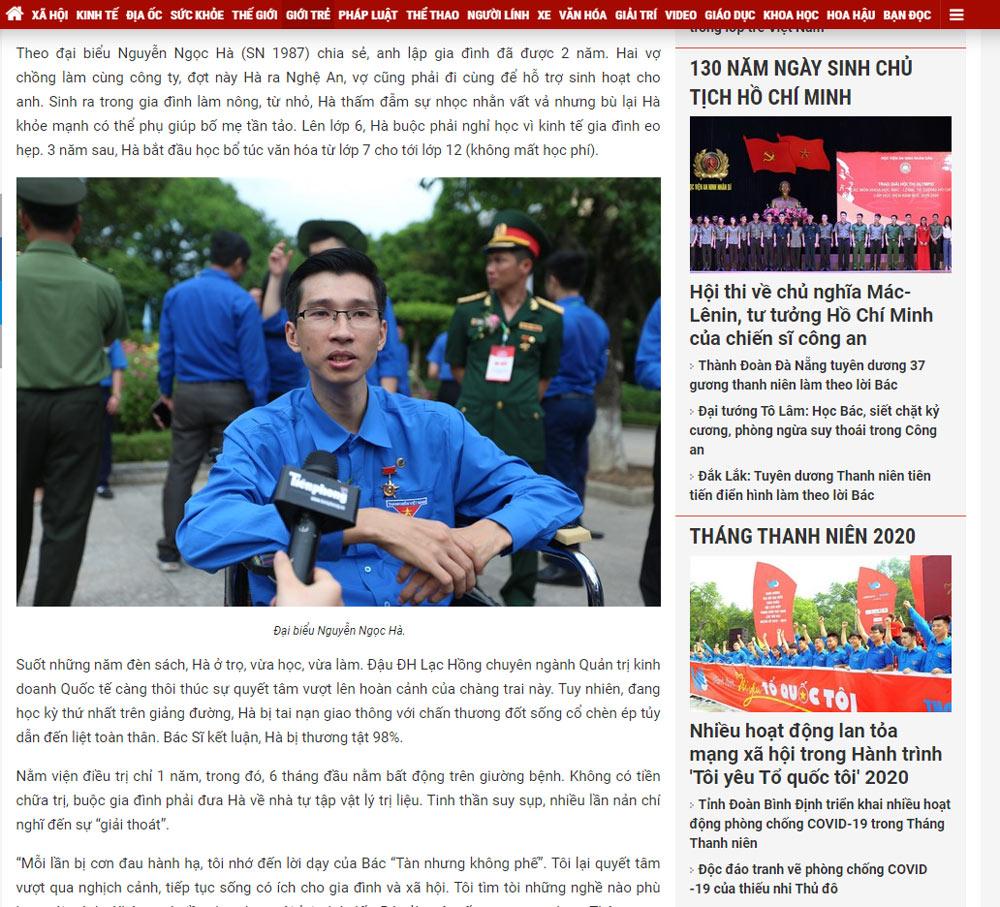 giam doc vinatrends tham gia dai hoi thanh nien viet nam Chàng trai tật nguyền và bước chuyển mình thành ông chủ doanh nghiệp nguồn báo Tiền Phong