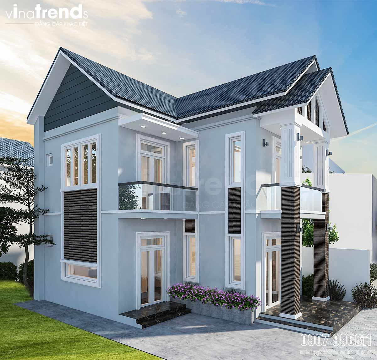mau nha 2 tang don gian mai thai dep Mẫu nhà 2 tầng mái thái đơn giản 7,8x11m đẹp như  biệt thự ở Biên Hòa